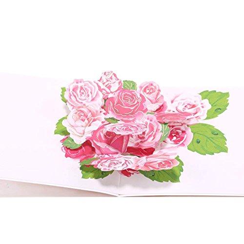 Paper Spiritz ポップアップカード「花」立体ポップアップ グリーティングカード 感謝状 母の日 結婚祝い 誕生日 おめでとう 封筒付き