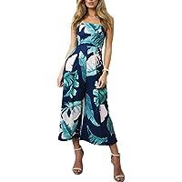 Leezeshaw Women Off Shoulder Romper Strapless Floral Print High Waisted Beach Wide Leg Long Jumpsuit
