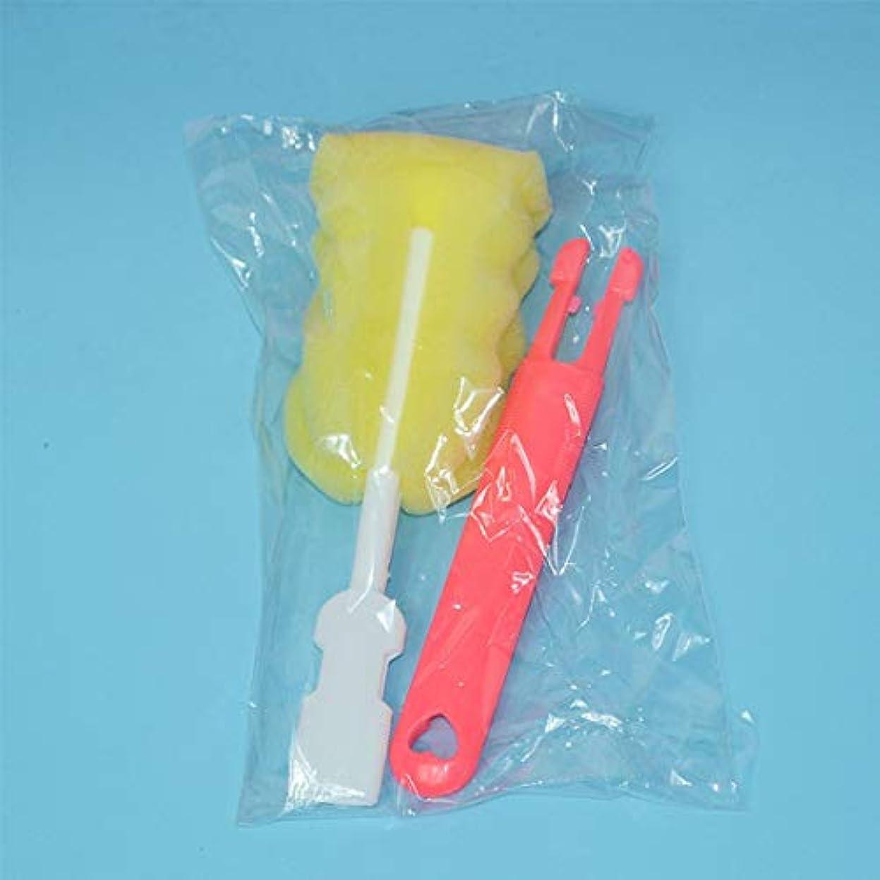 Swiftgood 取り外し可能な交換用ヘッドスポンジカップブラシ哺乳瓶クリーニングブラシ赤
