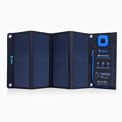 ソーラーチャージャー ソーラー充電器 BigBlue 28W 2USBポート ソーラーパネル 液晶デジタル表示 折り畳み式 防水 カラビナ付き キャンプ 山登り アウトドア iPhone iPad Android各種対応