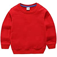Kids Clothing Autumn Solid Color Bottoming Children's Sweatshirt Pullover, Height:80cm(White) Boys Clothing (Color : Red)