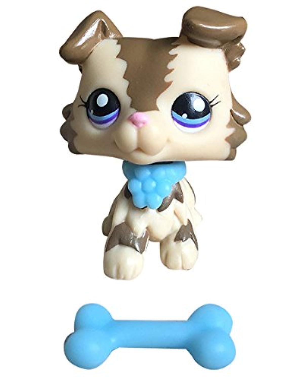 ミニペットショップLittlest LPS Collie Puppy Dog With CollarコレクションRareおもちゃ図Playsetsガールズボーイズ子供ギフト SS0012