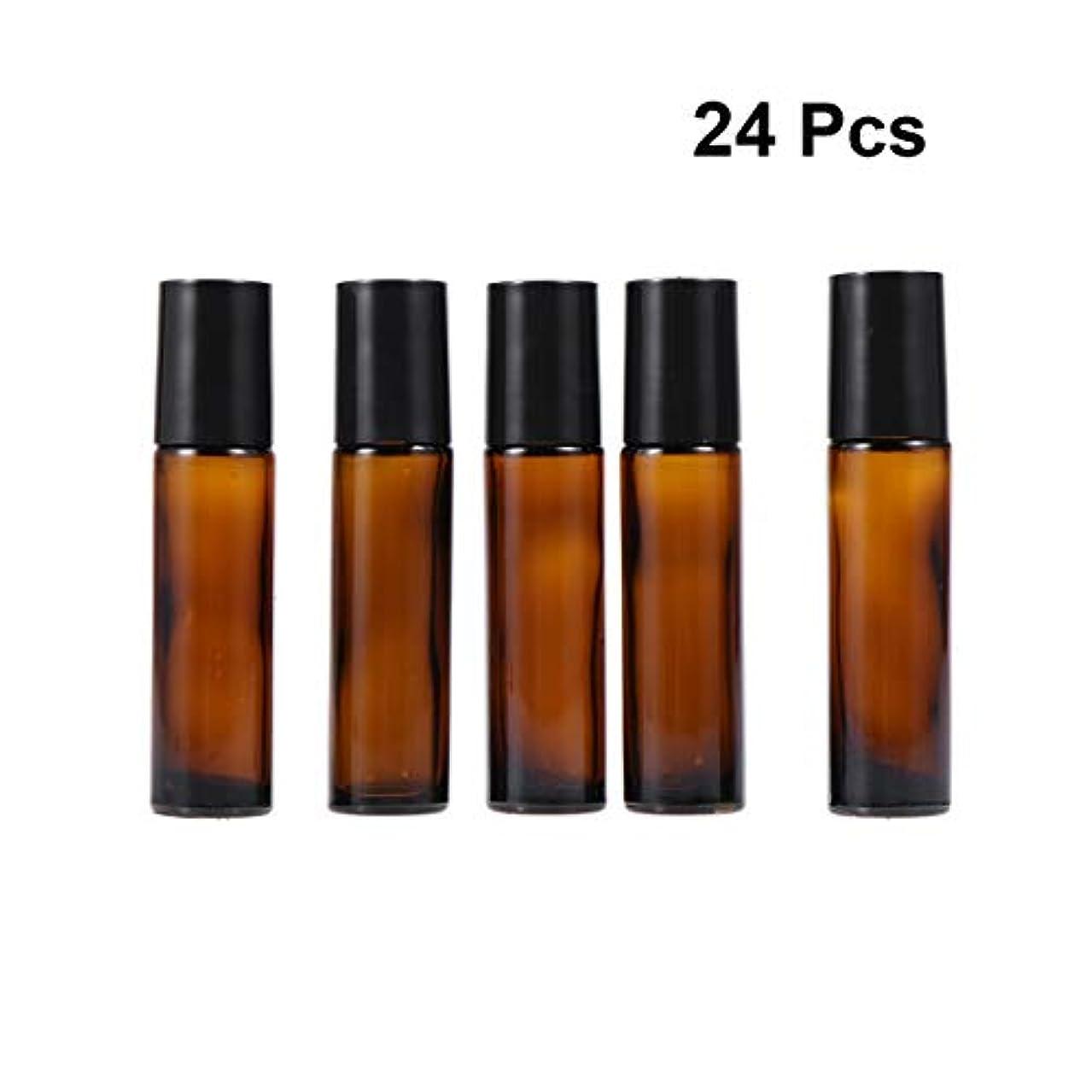 洞察力町アコードiplusmile ロール ボトル 遮光瓶 ガラスロール 10ml 精油 香水 小分け用 アロマボトル 保存容器 携帯用 出張 海外旅行 24本セット