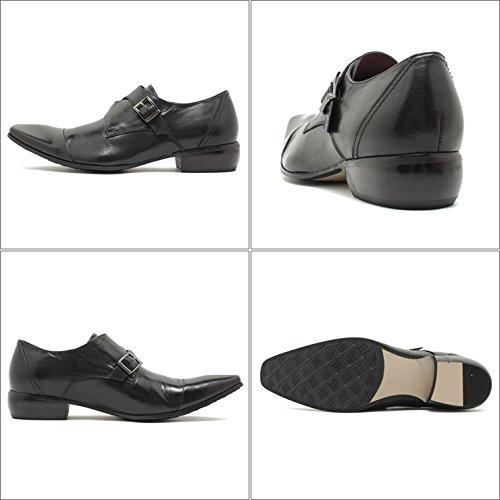 Bump N' GRIND/バンプアンドグラインド ロングノーズ・クロスモンクストラップ・本革ビジネスシューズ 4001 ブラックレザー スクエアトゥ/チゼルトゥ/ドレス/紐靴/革靴/仕事用/メンズ 44/27.0-27.5,Black