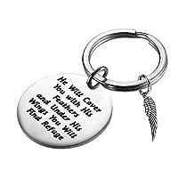 PLITI 宗教的ギフト レディース クリスチャン キーチェーン 「His Wings You Will Find Refuge Psalm 91:4 信仰 祈り 聖書の言葉 宗教的ジュエリー インスピレーショナルギフト シルバー