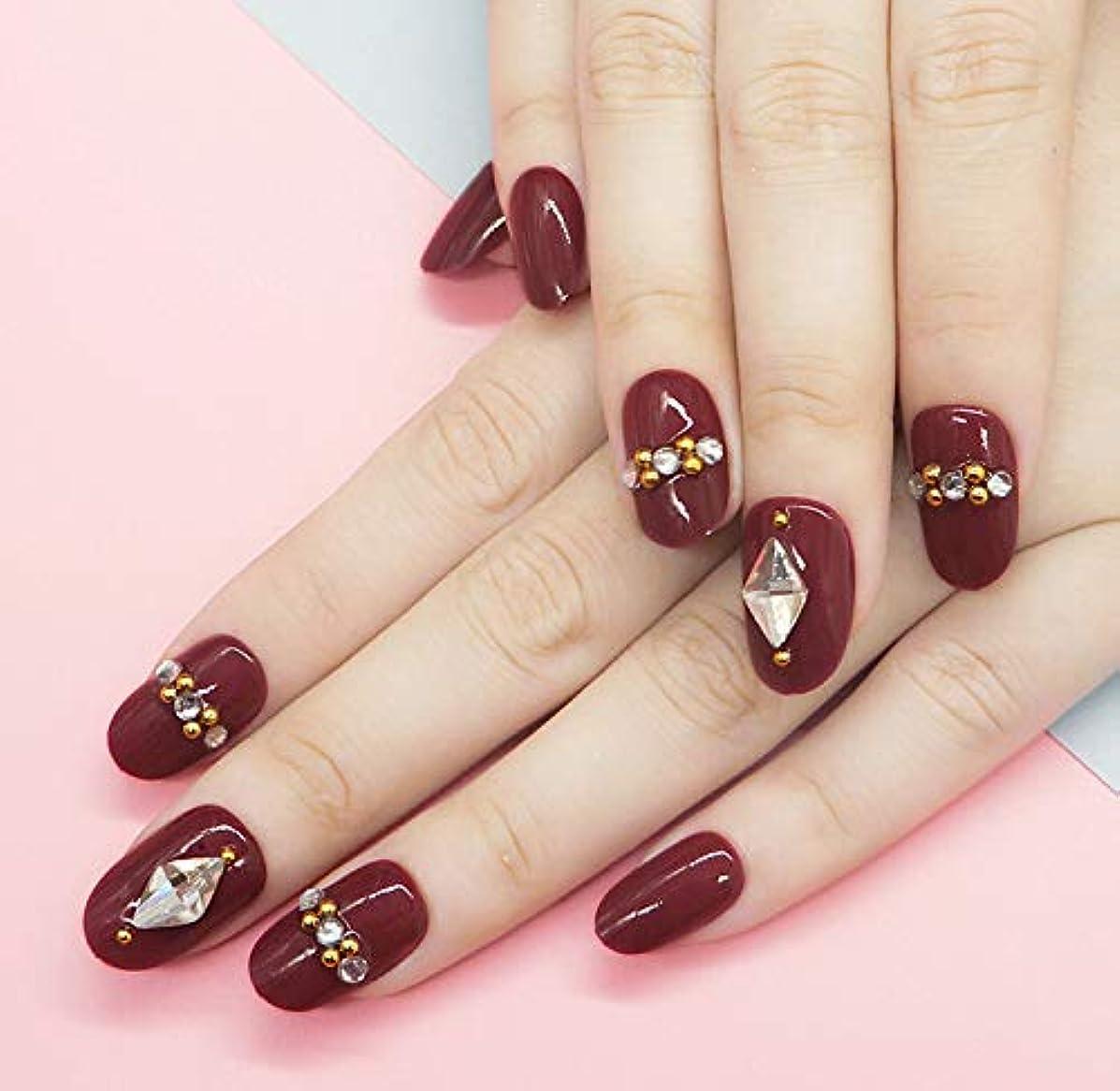 喜劇黒くするインレイ濃い赤 优雅 で気质の高い淑女 水滴の形 24PCS 个性によるニーズを満たせる ネイルチップ つけ爪