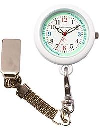 【リトルマジック】[ 自分で電池交換可 ] 3種のチェーン ナースウォッチ [ 日本製ムーブメント] [ 電池容量最長3年] [ 3気圧 防水 ] [ 蓄光 ] シンプル 懐中時計 時計 看護師 男女兼用 (便利チェーン2種+リール付き)(ミント NS30)
