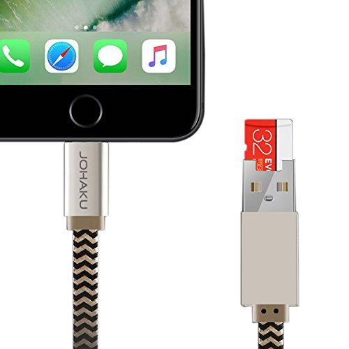 [JOHAKU]iPhone/iPad用 多機能 USBメモリ拡張/Lightning USBケーブル ライトニング/MicroSD TFカードリーダー 変換コネクタ 長さ20CM「応急充電・データをバックアップ」 (ゴールド)