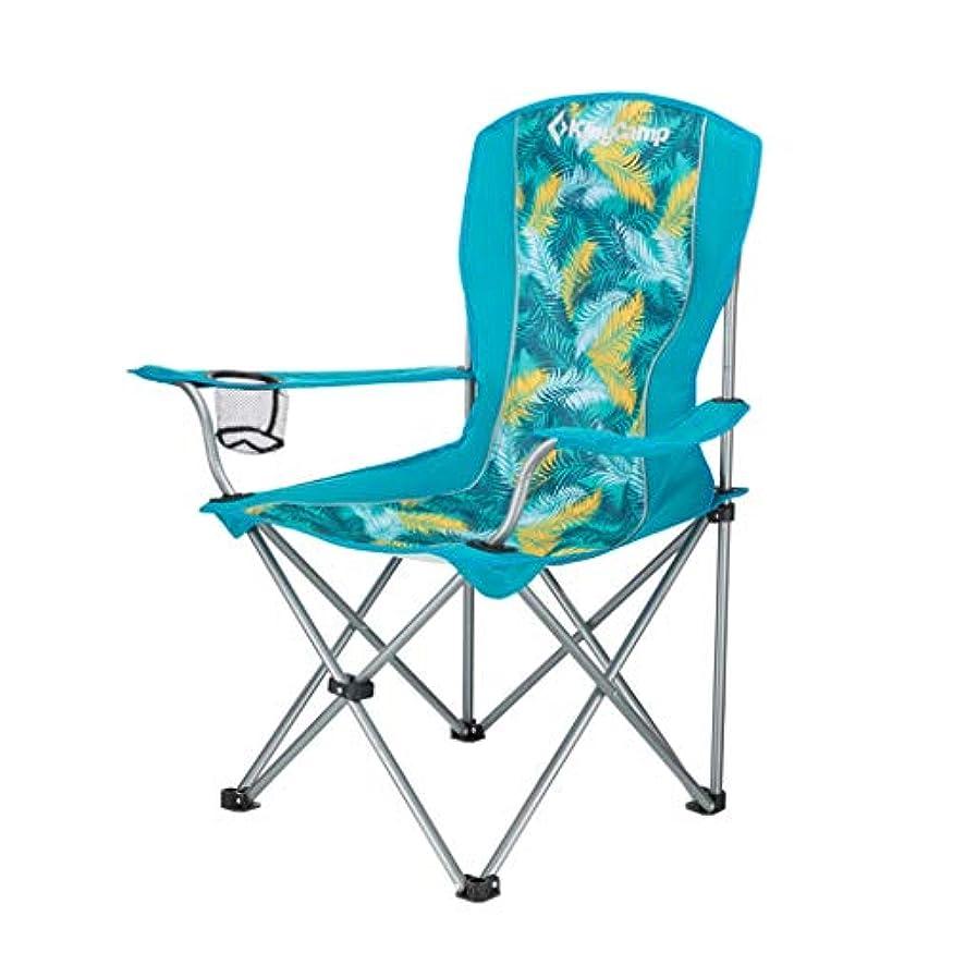 ジャンプサイズ美徳ロッキングチェア 折りたたみ式キャンプチェアオックスフォード布ポータブル折りたたみ式ビーチ釣りバーベキューガーデンスポーツチェア、ホルダー付き、120kg(多色) (色 : Palm Green)