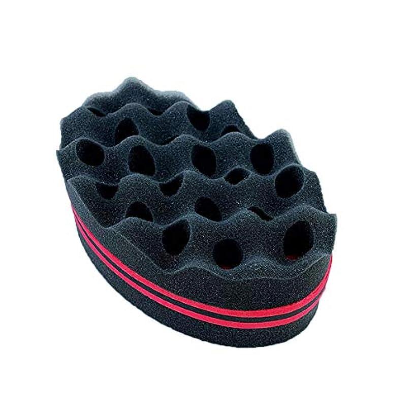 芝生レスリングバルブ毛ブラシツールスポンジヘアカーラーは、アフリカの自然な黒い髪の櫛コイル波大きな穴ツイスト