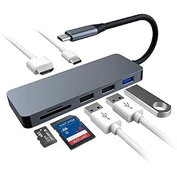 USB C ハブ USB TYPE C ハブ 4KHDMI出力 SD MicroSD カードリーダー PD充電ポート USBハブ 3.0 USB C 変換 アダプタ MacBook2016・MacBookPro/ChromeBook対応