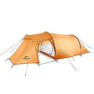 NatureHike 2ルーム 2人用 テント 前室付き 超軽量 二重構造 大型 ツーリングテント フロアシート付き 軽量・防風防水・防虫 アウトドア キャンピング 登山 防災 緊急 コンパクト 耐水圧3000+ [4シーズンに適用] (2人用 オレンジ (210Tナイロンチェック)