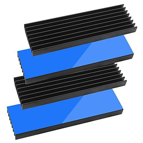 4個ヒートシンク 導熱接着シート4pcs付き 熱暴走対策 冷却ラジエーターフィンCPU ICチップ 回路基板 LEDアンプに適用 アルミニウム 黒 70mm×22mm×6mm