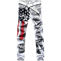 Fulision Men's frag Print Decorate Ealstic Casual mid Rise Skinny Slim Fit Stretch Straight Leg Fashion Jeans Zipper Pants with Pocket