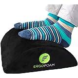 Ergonomic Foot Rest Under Desk - Black Premium Velvet Soft Foam Footrest. Most Comfortable Cushion for Office, Travel, Plane. Neck Back Knee Leg Pain, Lumbar. Non-Slip Bottom Foot Stool Rocker.