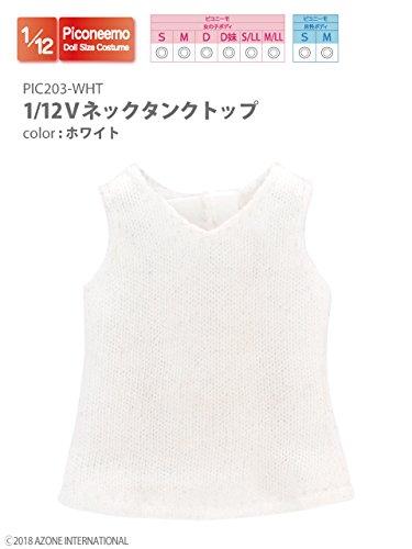 ピコニーモ用 1/12 Vネックタンクトップ ホワイト (ドール用)
