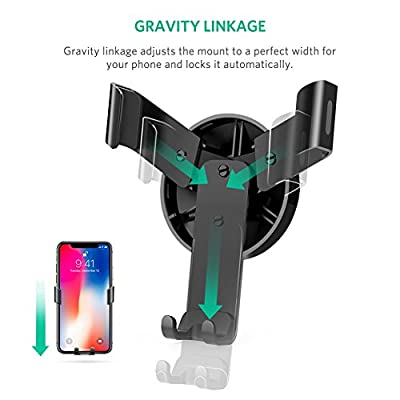 UGREEN Car Air Vent Mount Cell Phone Holder Gravity Compatible for iPhone Xs X XR 6S 7 Plus 8 5S 6, Samsung Galaxy S9 S7 Edge S8 S6, Google Pixel 2 XL, LG G6 Smartphone