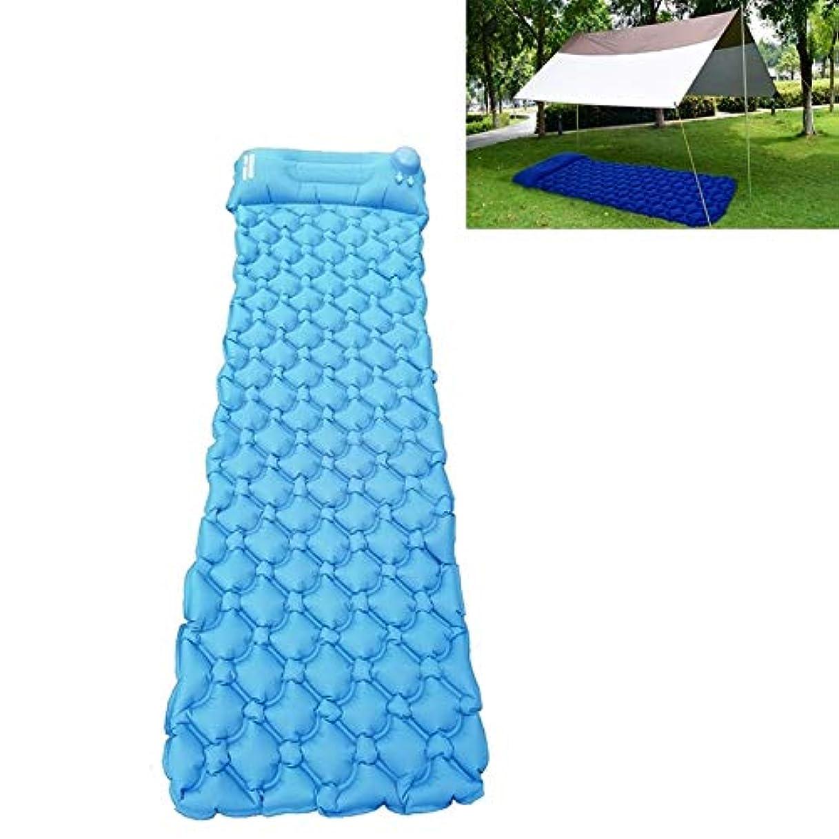 打ち上げる不承認談話屋外 携帯用 テント キャンプ 睡眠のパッド 超軽い 折りたたみ 押す空気マットレス (色 : 青)