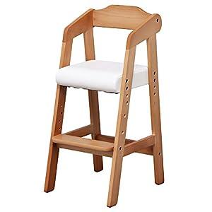キッズチェア 木製椅子 ハイチェア 3段階調節可能 幅35×奥行41×高さ78.5cm ライトブラウン