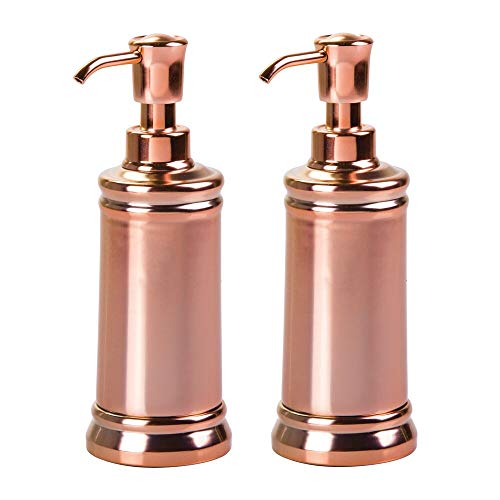 mDesign Liquid Hand Soap Dispenser Pump Bottle for Kitchen Bathroom | Also Can be Used for Hand Lotion & Essential Oils - Pack of 2 Rose Gold