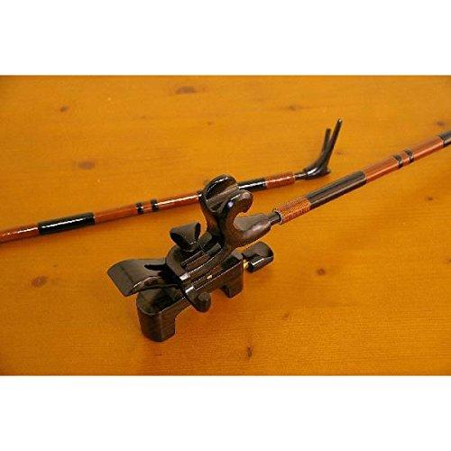 段巻 竹製竿掛け 1本半 + 黒檀弓型万力セット