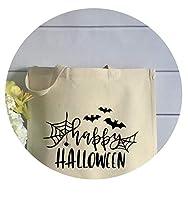 ハッピーハロウィントリックオアトリートバッググラフィックスパイダー女性キャンバスバッグショッピングバッグ、ホワイトブラックtxt