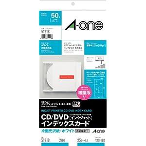 エーワン CD/DVDインデックスカード 片面光沢紙 2面 25枚 51218