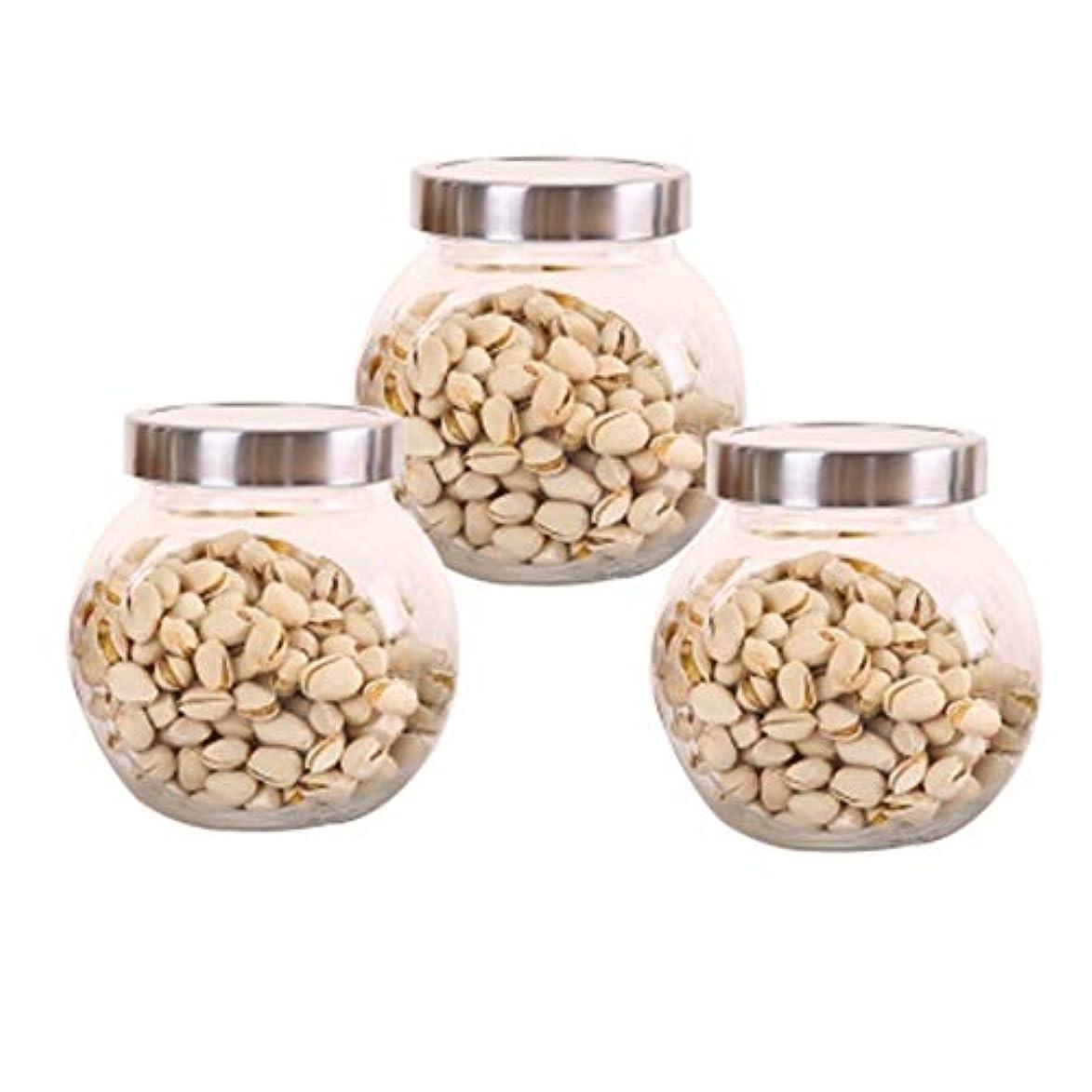 チェス反響するビタミン3つの鉛フリーガラスドライフルーツシールの保湿ストレージジャーのストレージジャーパック(3パック)