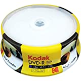 Kodak DVD-R Kodak DVD-R 4.7GB 16x Inkjet Printable Spindle 25 Pack, (580123)