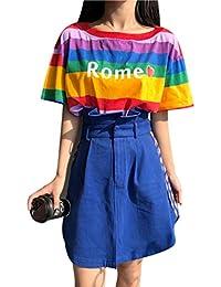 (ライチ) Lychee レディーススカート ショートスカート 夏  切り替え Aライン ハイウエスト フリル スリット 韓流 カジュアル