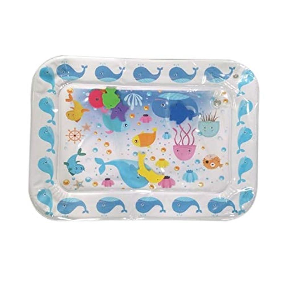 発送餌官僚かわいい赤ちゃんインフレータブルウォータープレイマットパッテッドパッドベビーウォータークッションパッドおなかタイムアクティビティセンターウォータークッション-ブルー