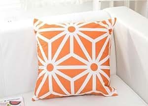Senrn装飾枕[枕カバーを投げる]リネンの装飾的なカラフルな枕カバーアートクッションケースを投げる枕カバー18x18インチ - オレンジ [並行輸入品]