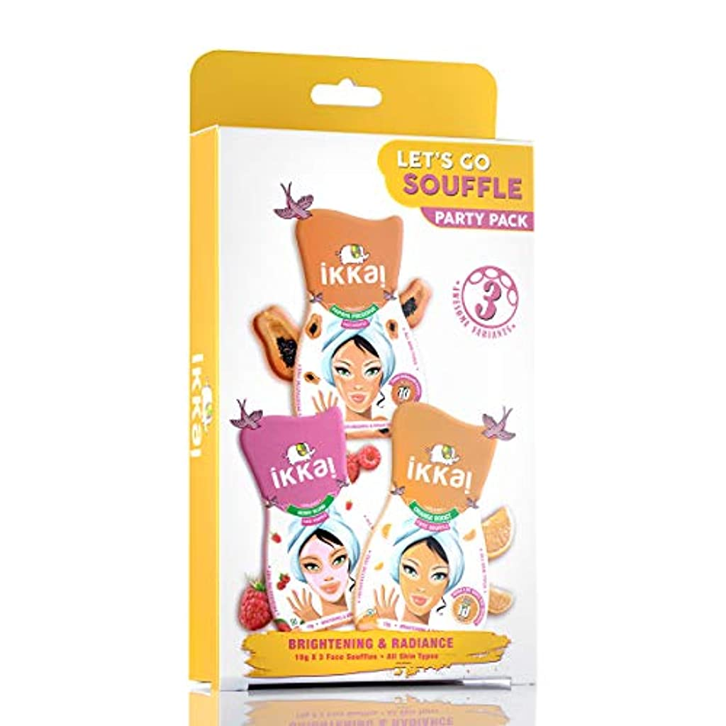 職人膨らみきつくIkkai by Lotus Herbals Lets Go Souffle Party Pack (1 Face Mask, 1 Face Scrub and 1 Face Souffle)