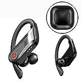 【2019最新耳掛け式Bluetooth イヤホン】Bluetooth イヤホン 5.0 完全ワイヤレス イヤホン スポーツ型 Hi-Fi 高音質 90時間連続再生 3Dステレオサウンド DSPノイズキャンセリング マイク内蔵 自動ON/OFF/ペアリング ハンズフリー両耳通話 IPX7防水 イヤホン側音量調節可能 片耳&両耳とも対応 LED電池残量提示 大容量充電式ケース Siri対応&リダイヤル機能 日本語説明書付き iPhone&Android&PC適用