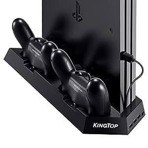 KINGTOP 冷却 新型 PS4 PRO 専用版コントローラー 充電スタンド コントローラー2台同時充電 PS4本体冷却ファン有 USBハブ3ポート 日本語説明書付き
