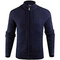 iClosam Mens Long Sleeve Full-Zip Stand Collar Cable Knitted Cardigan Sweater Jacket