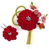 髪飾り かんざし 髪飾り2点セット 赤 レッド コーム ピン wk-331フラワー 成人式 振袖 卒業式 結婚式