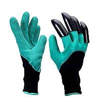 植栽手袋 作業用手袋 ガーデニング手袋 ガーデングローブ 高品質の素材 爪付き 軍手 植栽 防棘 防水 作業用 保護 安全 スコップ不要 (右手爪付き)