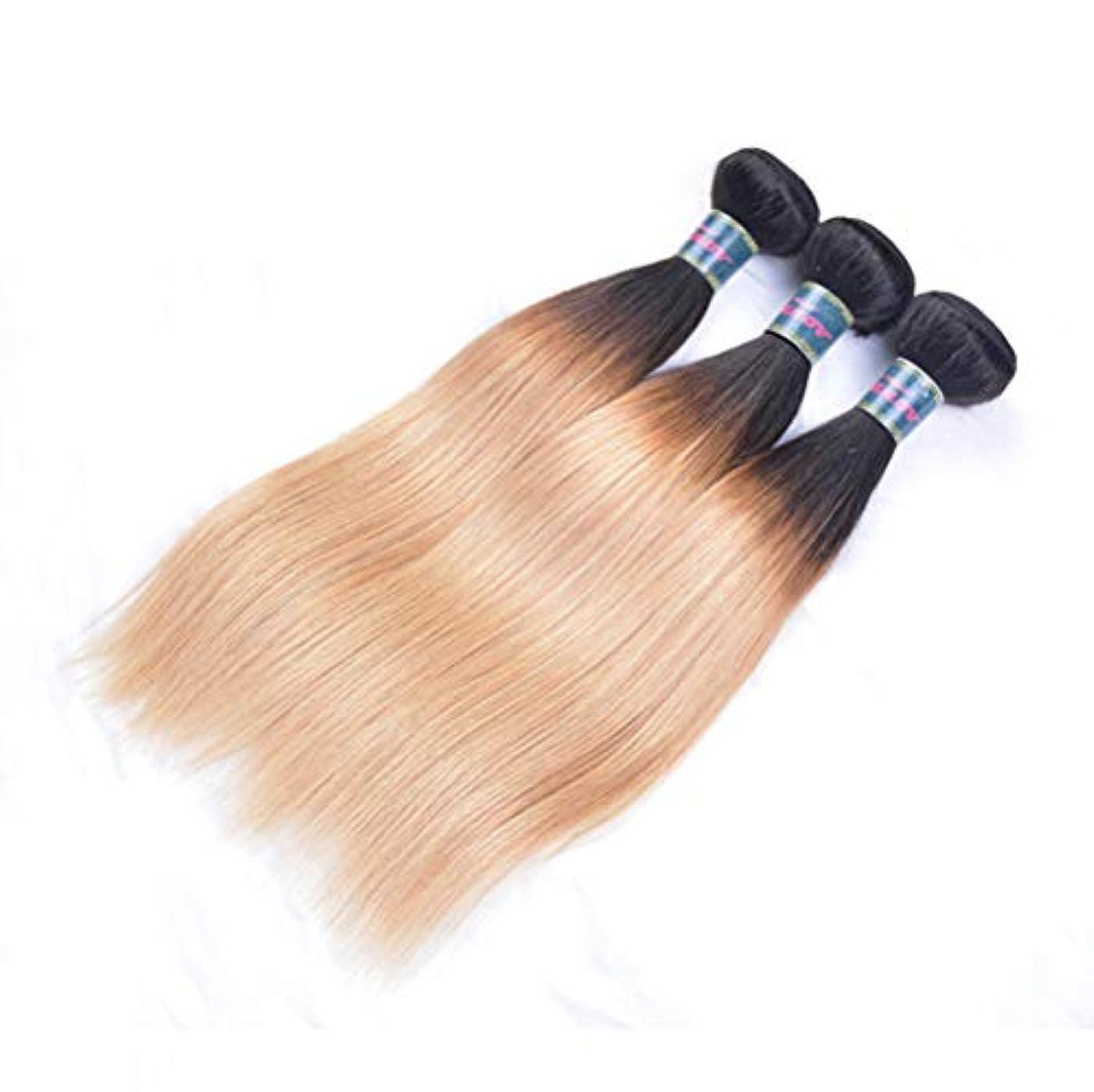 ワーディアンケース世辞宇宙の毛織り130%密度ストレートヘアバンドルブラジルストレートヘアバンドル人間の髪バンドルブラジルバージンヘアブラックグラデーションゴールド