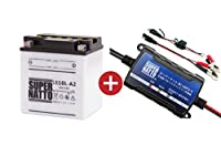 バイクバッテリー充電器+SB10L-A2セット■■YB10L-A2に互換■■ボルティクス・スーパーナット