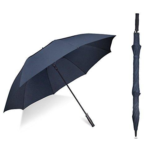 Mistart 長傘 ゴルフ用長傘 紳士傘 ワンタッチ 自動開け 高強度グラスファイバー傘骨大きな傘 超撥水性 耐風性 丈夫 大型 軽量 梅雨対策 台風対応 ビジネス用 プレゼント 父の日 メンズ レディース 収納ポーチ付 (blue)