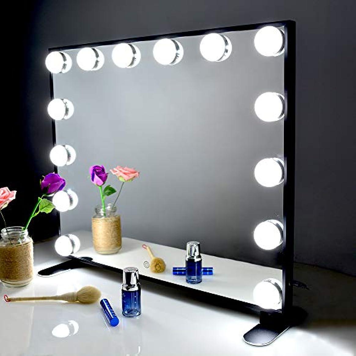 クローン溝多様体Wonstart 女優ミラー 化粧鏡 ハリウッドスタイル 14個LED電球付き 暖色?寒色 2色ライトモード 明るさ調節可能 女優ライト 卓上 LEDミラー ドレッサー/化粧台適用(ブラック)
