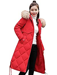 GridNN 冬用 レディース ロングオーバーコート フェイクファー フード付き 厚手 暖かいスリムジャケット 暖かいコート (,)