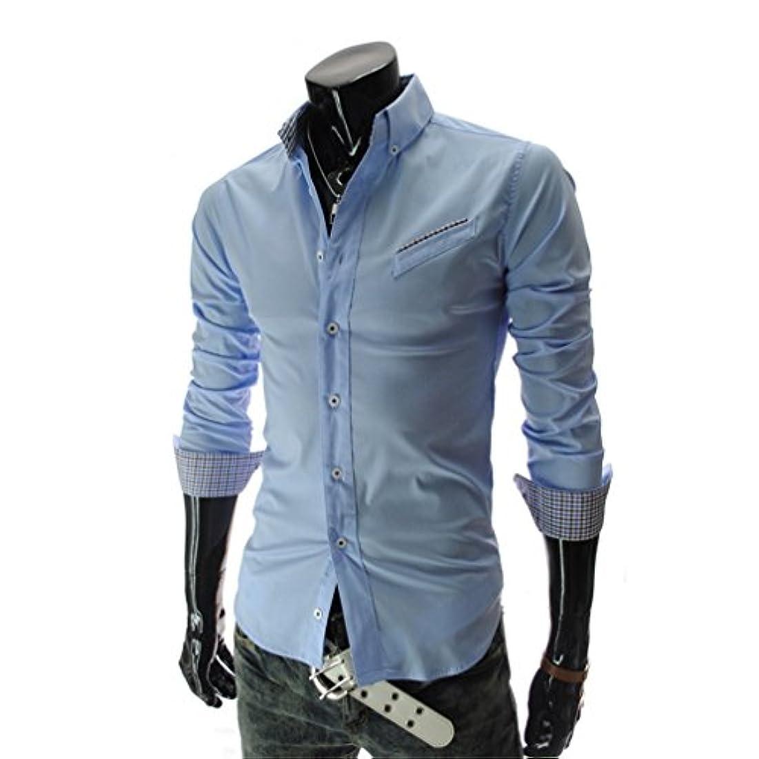 熱心なスピン百年Honghu メンズ シャツ 長袖 3Dプリント ポケット ブルー 2XL 1PC