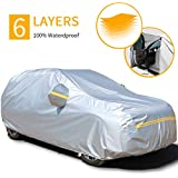 """Autsop Car Covers Waterproof,Car Cover for Sedan/SUV/Hatchback 6 Layers All Weather Protection Universal Full Cover with Zipper A6-YXL(Fits SUV 193"""" to 200"""") Silver"""