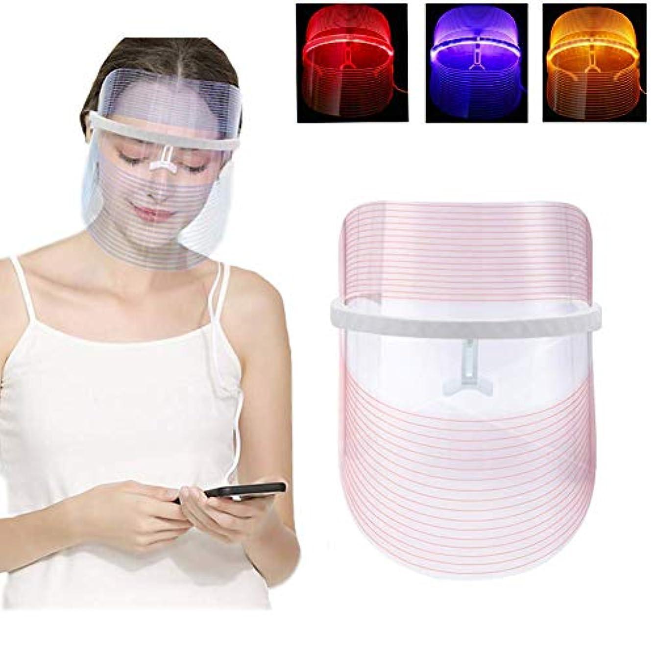 未就学人種ルーキー3色LEDライト療法のフェイスマスクの美の器械の顔の鉱泉の処置装置の反アクネのしわの取り外し