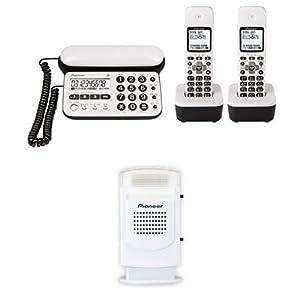 Pioneer デジタルコードレス電話機 子機2台付き ピュアホワイト TF-SD15W-PW + Pioneer 電話機アクセサリー フラッシュベル ホワイト TF-TA21-W セット 【国内正規品】