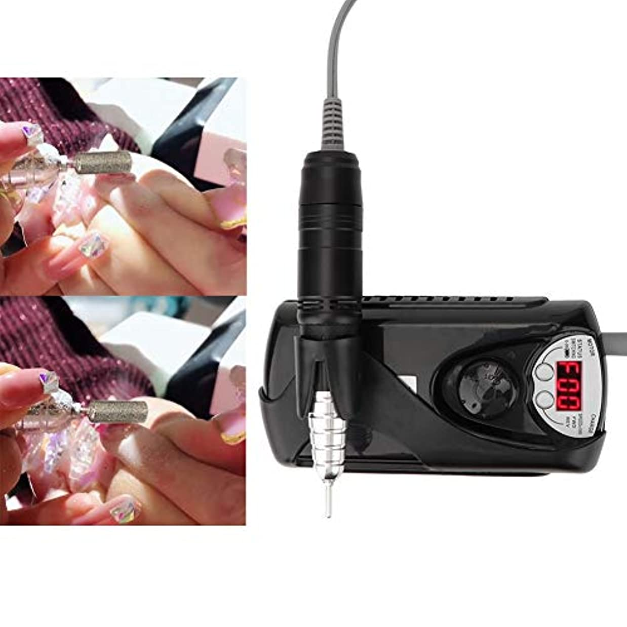 教会システムジャグリングペン形電動ネイルドリルマニキュア機(ブラックUSプラグ)
