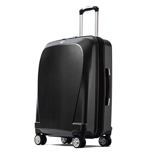 クロース(Kroeus)スーツケース キャリーケース 容量拡張機能 TSAロック搭載 ファスナータイプ エンボス加工 軽量 ダブルキャスター S型機内持ち込み可 トランクケース 出張 日本語取扱説明書 1年間保証 28 ブラック