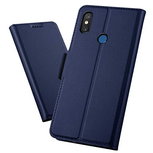 MeetJP, Xiaomi Redmi 8 シェル 財布 レザー, Xiaomi Redmi 8 シェル 〜と カード ホルダー 且つ キックスタンド, Xiaomi Redmi 8 財布 シェル 〜と スキン, スキン シェル カバー の Xiaomi Redmi 8 Blue